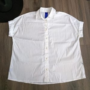 Kit & Ace White Short Sleeve Button Up Top XS